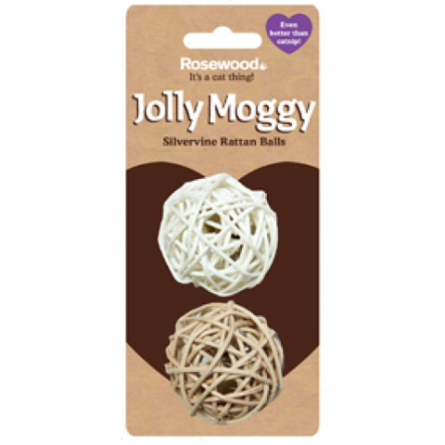 Rosewood Jolly Moggy Silvervine Rattan Balls Cat Toy