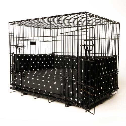 Charley Chau Crate Mattress & Bed Bumper Set Dotty Charcoal - Small