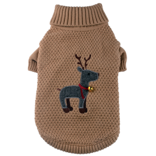 Pet London Tweed Reindeer Christmas Dog Jumper
