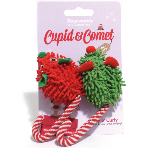 Cupid & Comet Crazy & Curly Candy Cane Mice Christmas Cat Toy