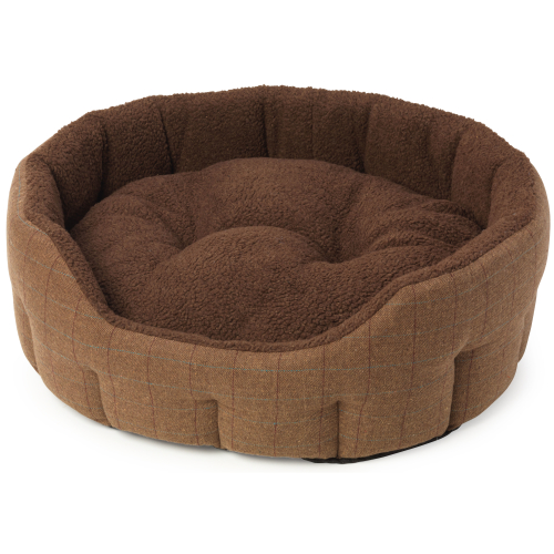 House of Paws Brown Tweed & Faux Sheepskin Oval Snuggle Dog Bed