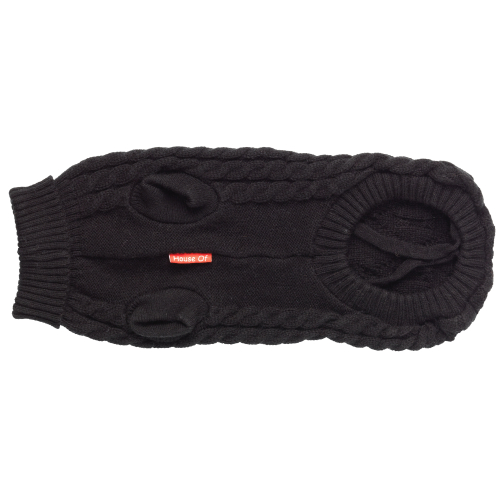 House of Paws Cable Knit Black Dog Jumper