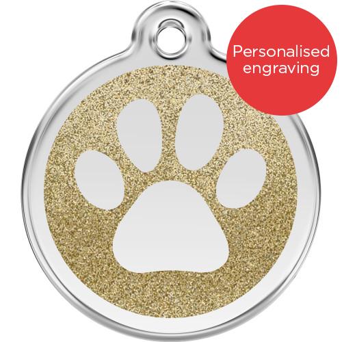 Red Dingo Dog ID Tag Glitter Enamel Pawprint Gold