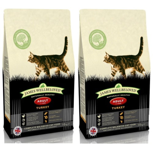 James Wellbeloved Adult Turkey Cat Food 10kg x 2