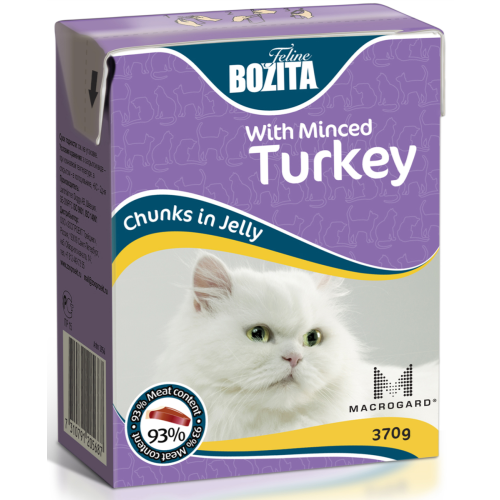 Bozita Chunks Jelly Minced Turkey Adult Cat Food 370g x 16