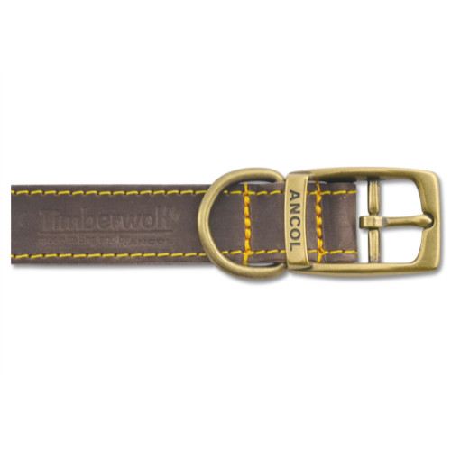 Ancol Timberwolf Leather Dog Collar