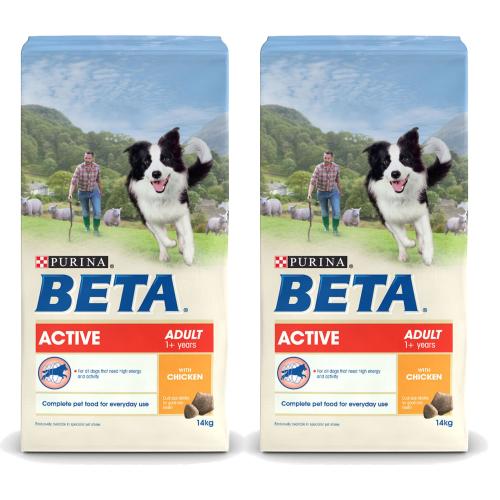 BETA Chicken Active Adult Dog Food 14kg x 2