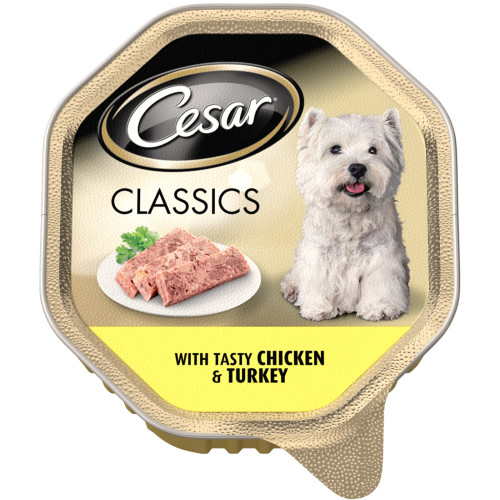 Cesar Tray Classics Chicken & Turkey Adult Dog Food
