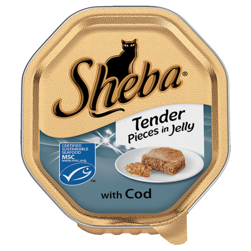 Sheba Tray Tender Pieces in Jelly with Cod Adult Cat Food