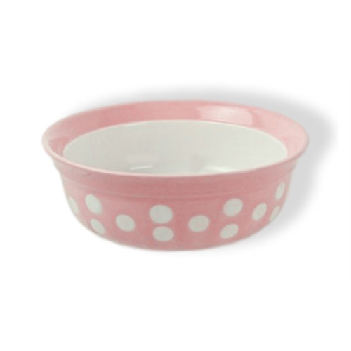 Rosewood Stoneware Pink Polka Dot Dog & Cat Bowl