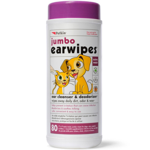 Petkin Jumbo Ear Wipes For Dogs & Cats