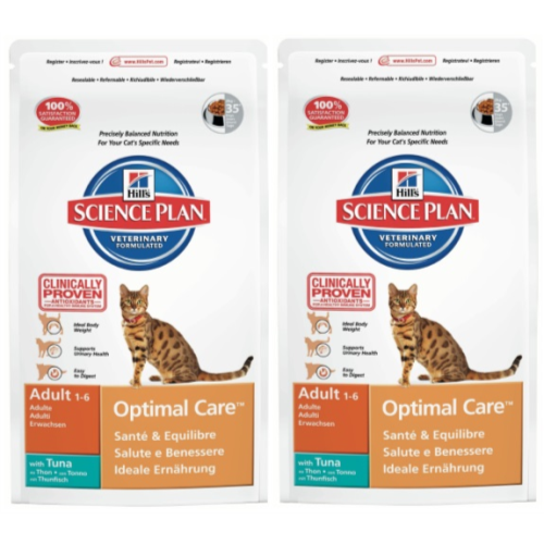 Hills Science Plan Feline Adult Optimal Care Tuna 10kg x 2