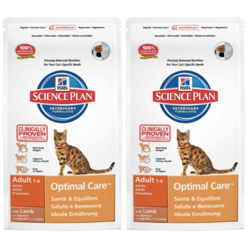 Hills Science Plan Feline Adult Optimal Care Lamb 10kg x 2