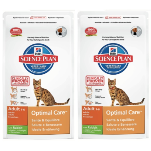 Hills Science Plan Feline Adult Optimal Care Rabbit 10kg x 2