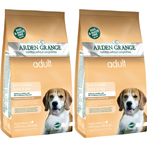 Arden Grange Rich in Fresh Pork & Rice Adult Dog Food 12kg x 2