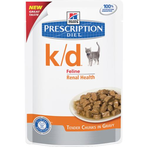 Hills Prescription Diet Feline KD Pouches 85g x 12 Beef