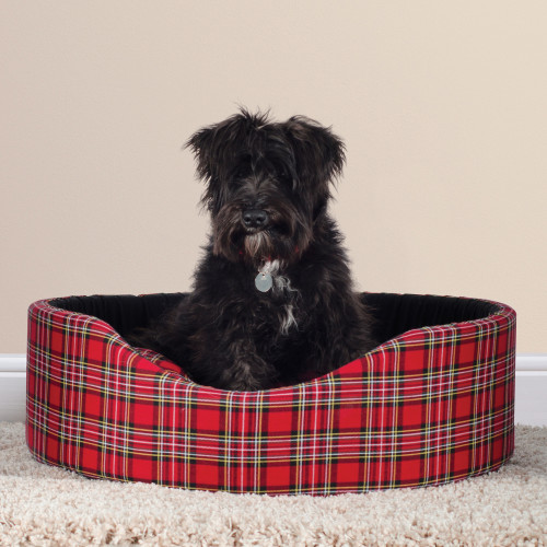Sleepy Paws Oval Red Tartan Dog Bed