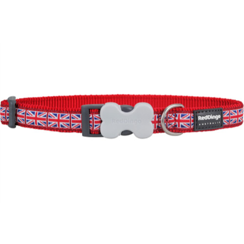 Red Dingo Dog Collar Union Jack Flag