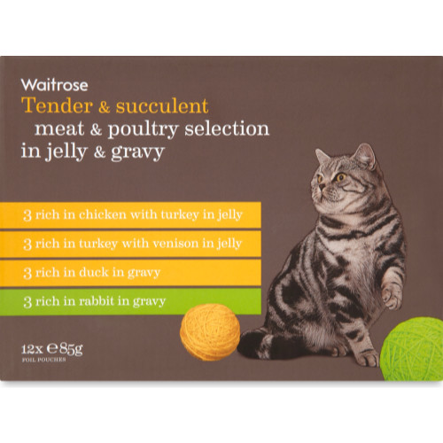 Waitrose Meat & Poultry Selection In Jelly & Gravy Cat Food