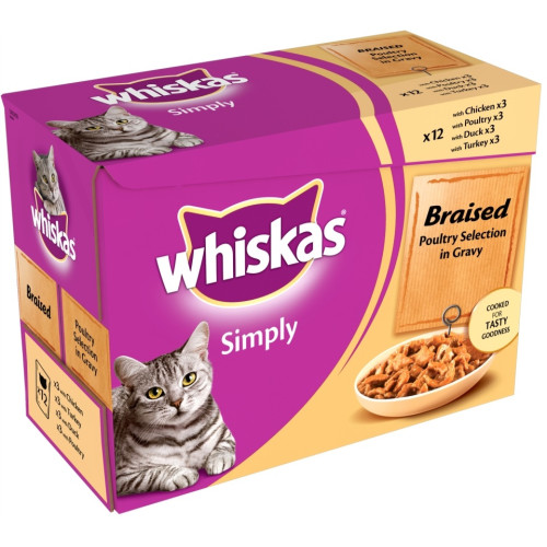 Whiskas Pouch Simply Braised Poultry in Gravy Adult Cat Food