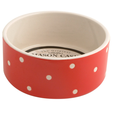 Mason Cash Red Polka Dot Ceramic Dog & Cat Bowl