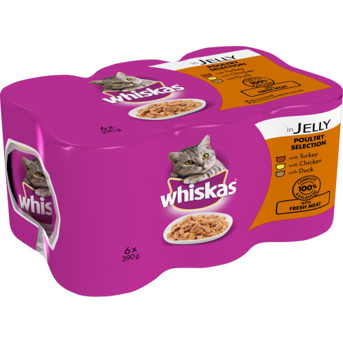 Whiskas Can Poultry Selection in Jelly Adult Cat Food