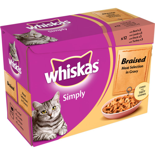 Whiskas Pouch Simply Braised Meat Selection in Gravy Adult Cat Food