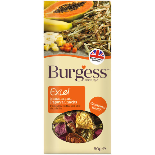 Burgess Excel Banana & Papaya Rabbit, Chinchilla & Guinea Pig Snack