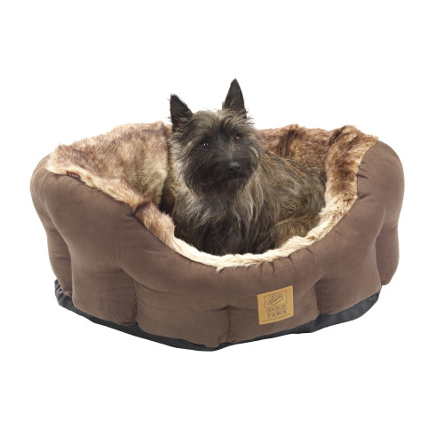 House Of Paws Arctic Fox Faux Fur Snuggle Dog Bed