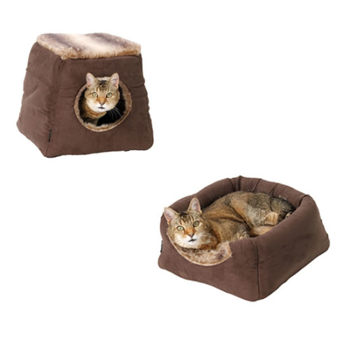 House Of Paws Arctic Faux Suede 2 in 1 Cat Bed