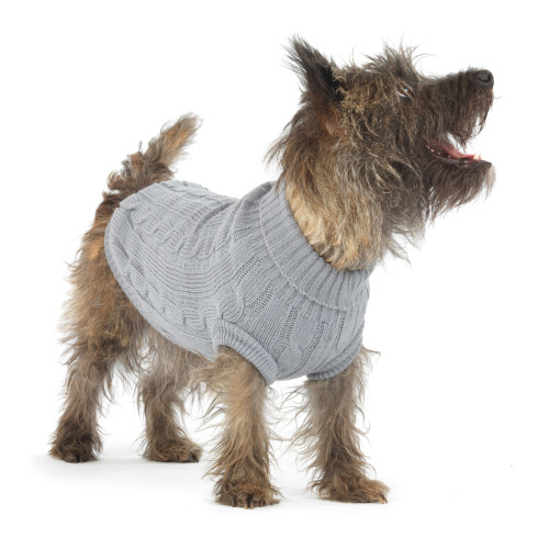 House Of Paws Cable Knit Grey Dog Jumper