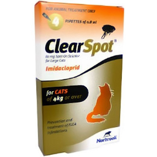 ClearSpot Spot On for Cats 80mg Large Cats Over 4kg - 4 Pipettes