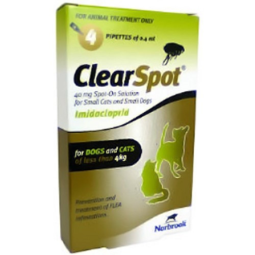 ClearSpot Spot On for Cats 40mg Small & Medium Cats up to 4kg - 4 Pipettes
