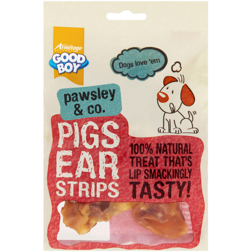 Good Boy Pawsley & Co Natural Pigs Ear Strips Dog Treats