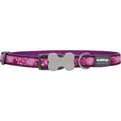 Red Dingo Breezy Love Hearts Dog Collar Pink
