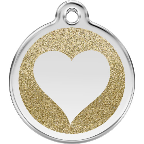 Red Dingo Dog ID Tag Glitter Enamel Heart Gold