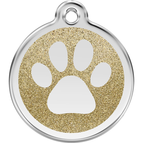 Red Dingo Dog ID Tag Glitter Enamel Pawprint Gold
