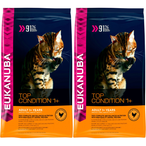Eukanuba Top Condition 1 Rich in Chicken Adult Cat Food 4kg x 2