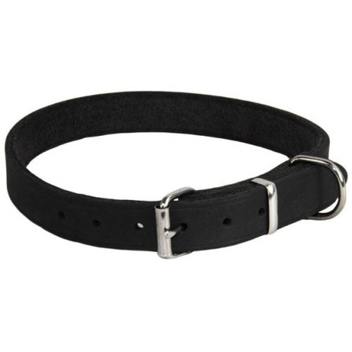 Earthbound Black Leather Dog Collar