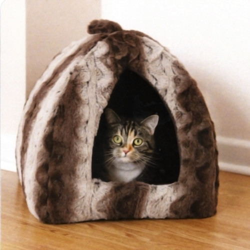 Rosewood Grey & Cream Plush Pyramid Cat Bed