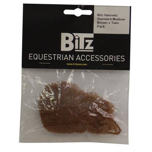 Bitz Hairnet Standard Medium Brown Twin Pack