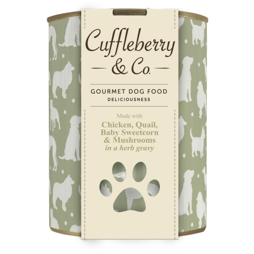 Cuffleberry & Co Chicken Quail Sweetcorn & Mushrooms Adult Dog Food 400g x 6