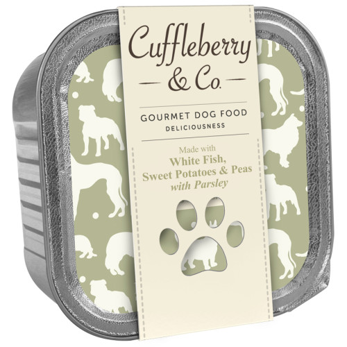 Cuffleberry & Co White Fish Potatoes Peas & Parsley Adult Dog Food 150g x 10