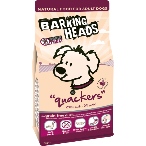 Barking Heads Quackers Grain Free Duck Adult Dog Food 2kg
