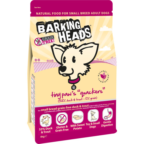 Barking Heads Tiny Paws Quackers Grain Free Small Dog Food