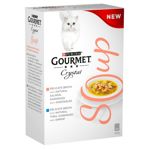 Gourmet Crystal Soup Salmon Multipack Adult Cat Food