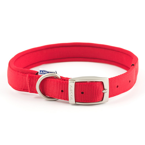 Ancol Heritage Nylon Padded Dog Collar Red