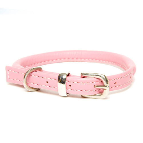 Dogs & Horses Rolled Leather Dog Collar Pink & Silver
