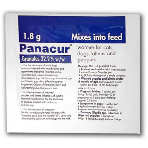 Panacur Wormer Granules for Dogs & Cats 1.8g x 5 Blue Sachet NFA-DC