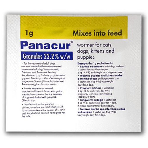 Panacur Wormer Granules for Dogs & Cats 1g x 5 Yellow Sachet NFA-DC